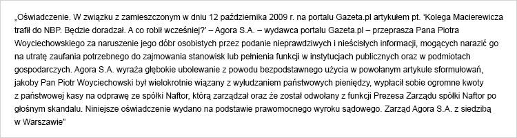 Agora przeprasza Piotra Woyciechowskiego