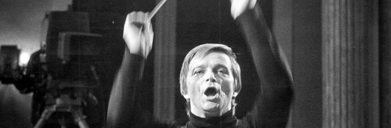 Katowice, 21.10.1977, Tadeusz Strugała podczas próby do telewizyjnego koncertu studyjnego