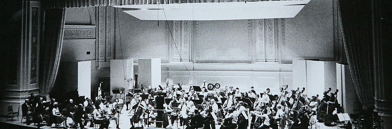 USA, Nowy Jork, 30.09.1976, próba koncertu w Carnegie Hall pod dyrekcją Jerzego Maksymiuka