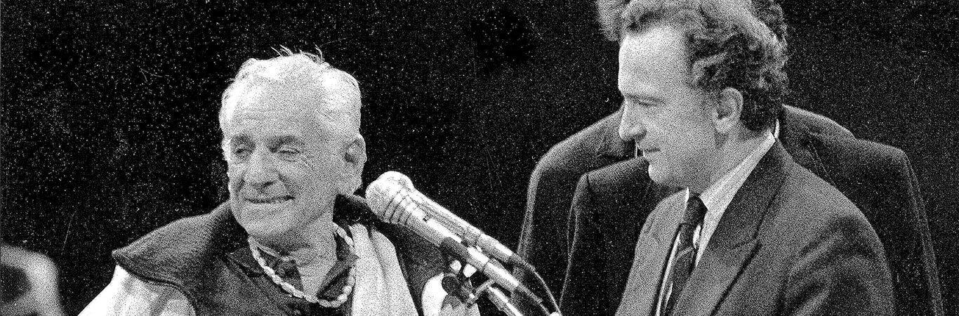 Warszawa, 1.09.1989, Antoni Wit i Leonard Bernstein podczas koncertu NOSPR w Teatrze Wielkim w 50. rocznicę wybuchu II wojny światowej