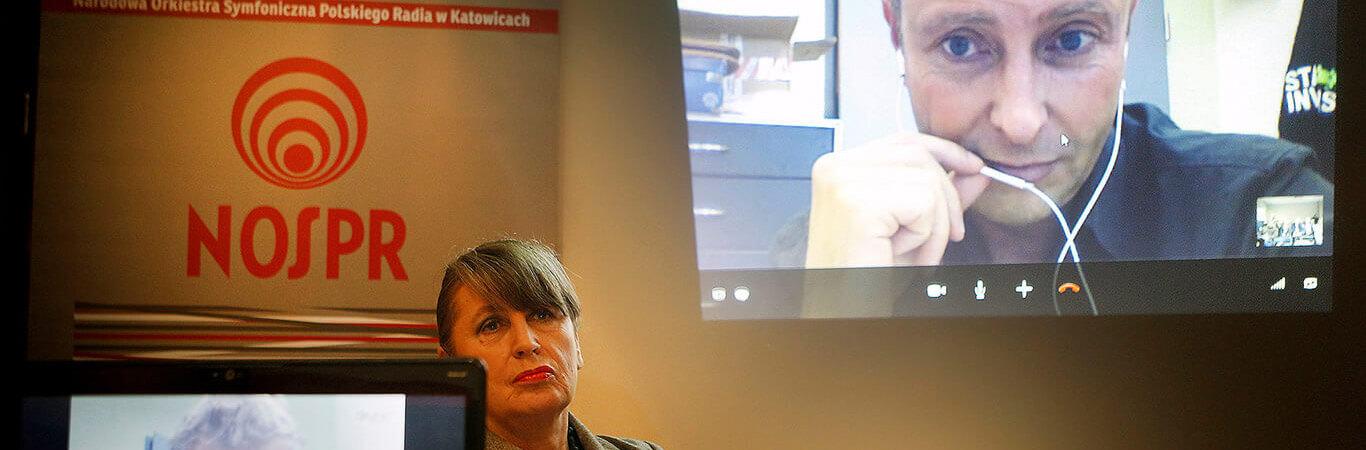 Katowice, 5.10.2012, dyrektor Joanna Wnuk-Nazarowa oraz nowy dyrektor artystyczny orkiestry Alexander Liebreich podczas konferencji prasowej