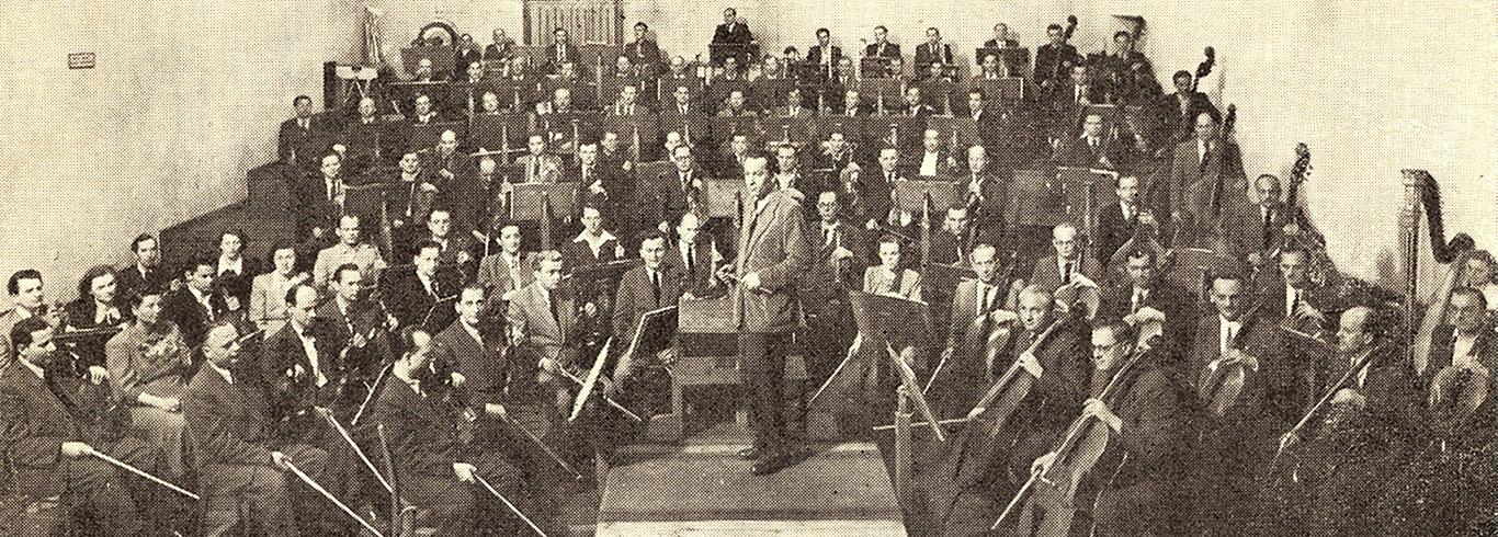 Witold Rowicki z orkiestrą w Studiu Polskiego Radia przy ulicy Ligonia