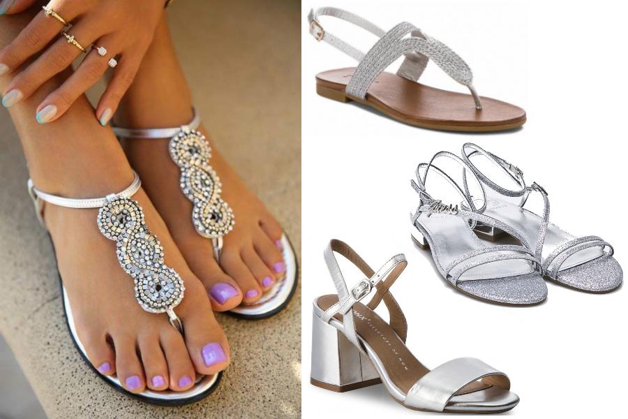 5678e5ba1d Wygodne buty  SREBRNE SANDAŁY NA WESELE. srebrne sandały