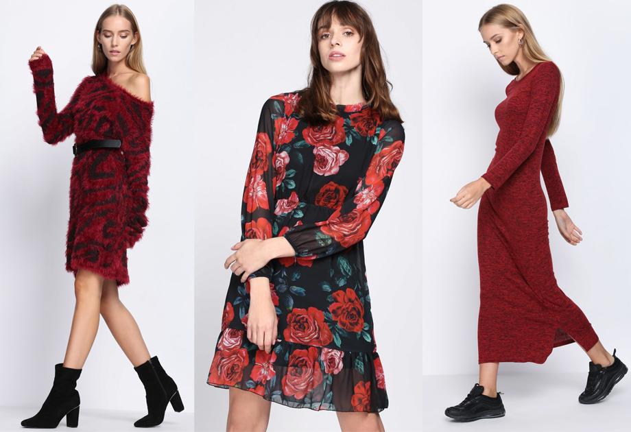 9887284641 Modne sukienki na jesień w czerwieni. Kolaż Avanti24   Mat. partnerów