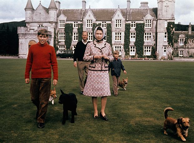 AThe Queen and Prince Andrew in the grounds of Balmoral, Scotland.
