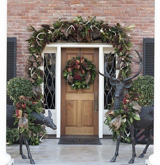 Dekoracja Drzwi Wejściowych Na Boże Narodzenie ładny Dom