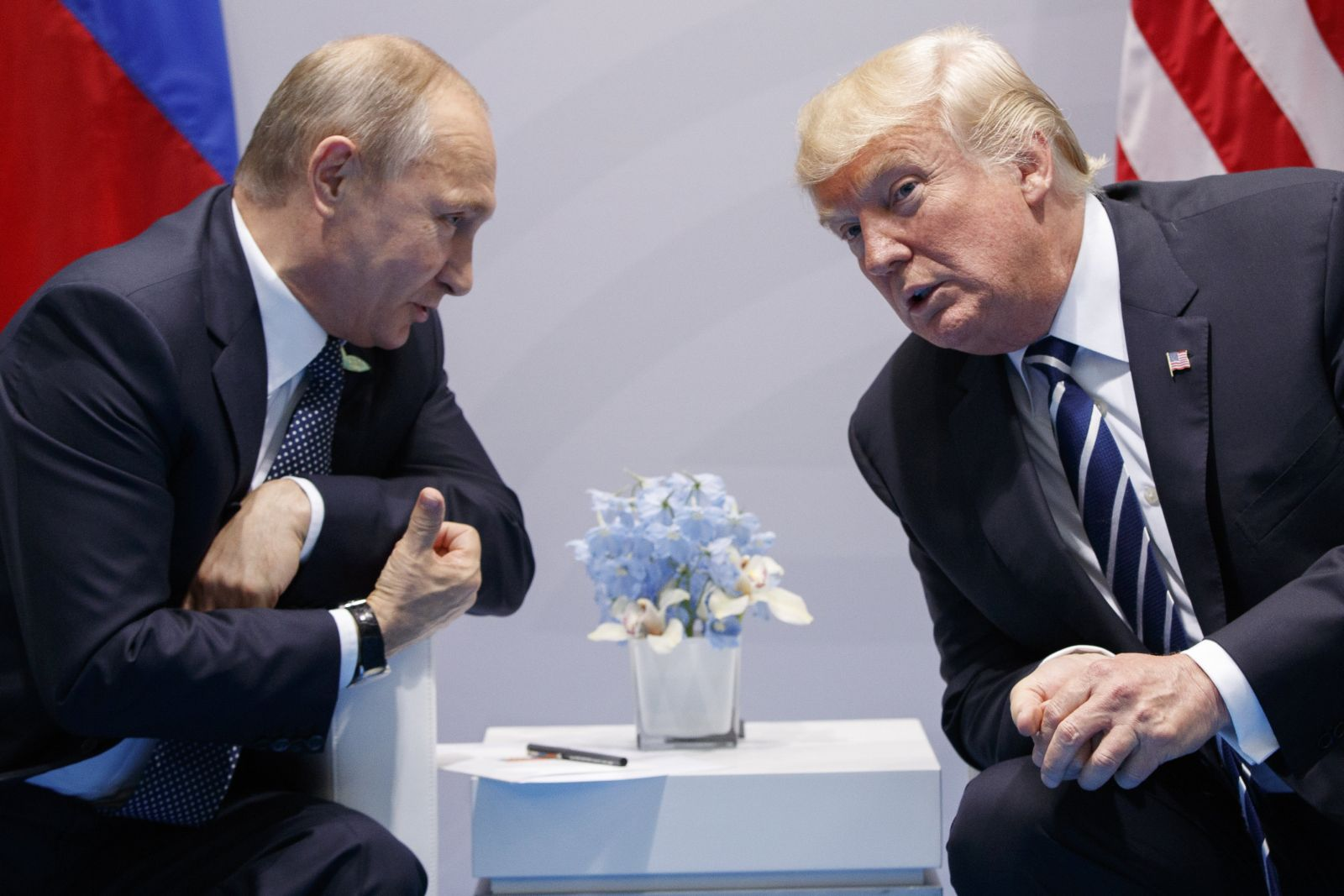 FILE - In this Friday, July 7, 2017, file photo U.S. President Donald Trump meets with Russian President Vladimir Putin at the G-20 Summit in Hamburg. The Kremlin and the White House have announced Thursday, June 28, 2018, that a summit between Russian President Vladimir Putin and U.S. President Donald Trump will take place in Helsinki, Finland, on July 16. (AP Photo/Evan Vucci, File)