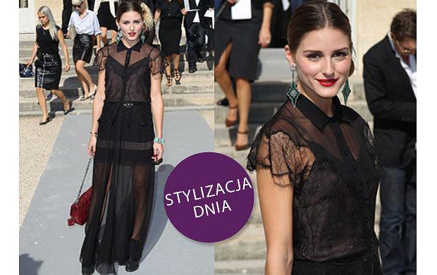Olivia Palermo w sukni Diora na Paris Fashion Week