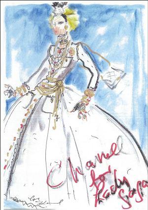 Szkic sukni Karla Lagerfelda dla Lady Gagi