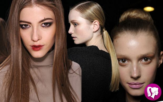 Gładkie fryzury z pokazów mody