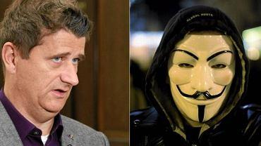Janusz Palikot/manifestant w masce Anonimous
