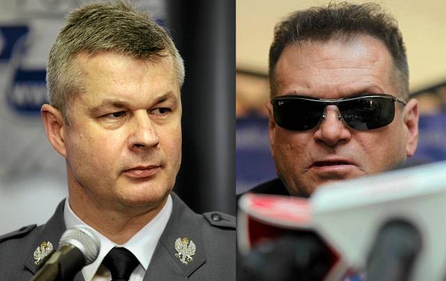 Komendant Główny Policji Marek Działoszyński i Krzysztof Rutkowski