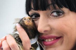 Agnieszka Orzechowska z małpką Angie.