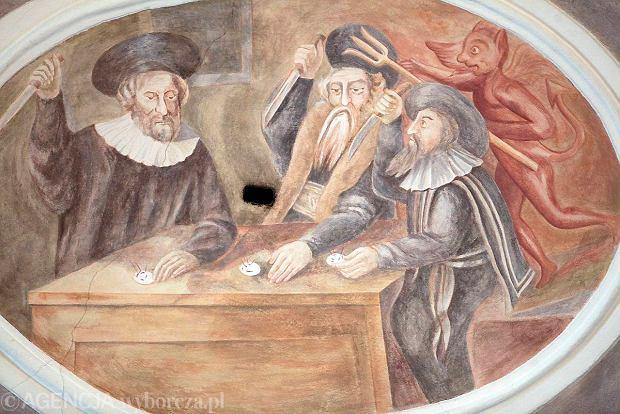 Fresk w kościele przy Żydowskiej, przedstawiający rzekomą profanację hostii