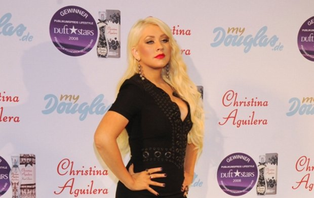 """07/13/2011 - Christina Aguilera - Christina Aguilera """"Royal Desire"""" Fragrance Launch at Upside East Lounge in Munich on July 13, 2011 - Upside East Lounge - Munich, Germany - Keywords: full length shot, rsilver high heel shoes, silver sequin high heel shoes, platform shoes, ing, rings, black dress, hanging earrings, jewelry, long wavy blonde hair Orientation: Portrait Face Count: 1 - False - Photo Credit: Away! / PR Photos - Contact (1-866-551-7827) - Portrait Face Count: 1"""