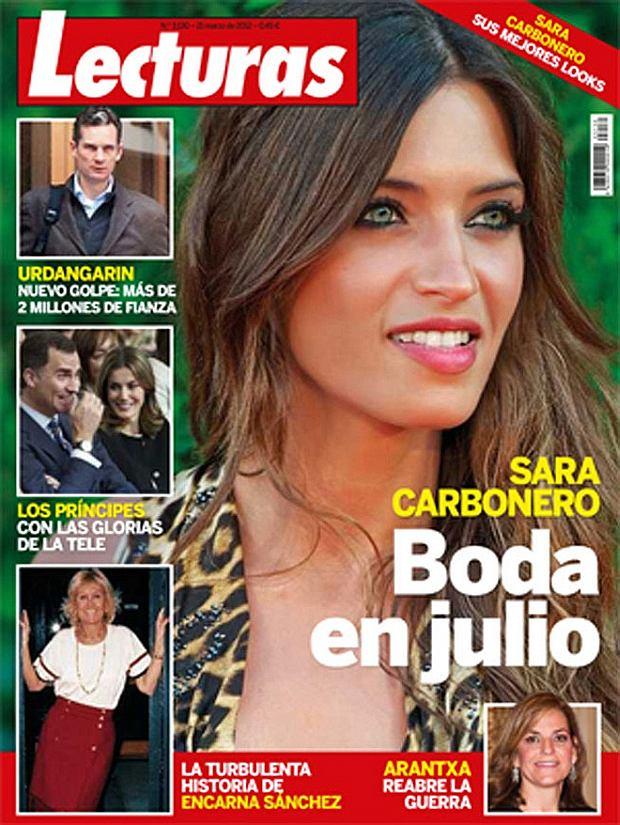 Sara Carbonero na okładce czasopisma 'Lecturas', które twierdzi, że jej ślub z Casillasem odbędzie się w lipcu 2012 roku.