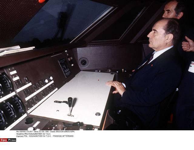 Prezydent Mitterrand w pierwszym TGV
