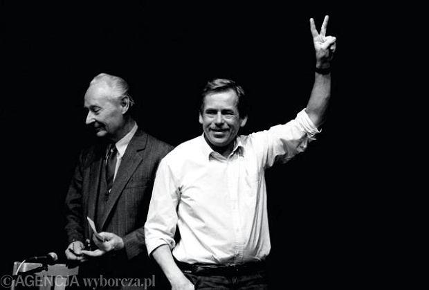 Aleksander Dubczek i Vaclav Havel, Czechosłowacja 1989 r.