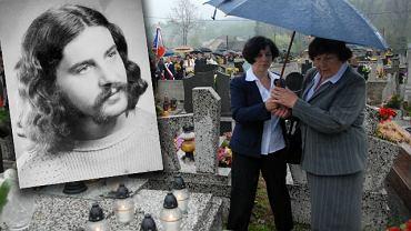 Stanisław Pyjas oraz jego matka Stanisława Pyjas i siostra Anna Wnętrzak przy grobie Pyjasa w 30. rocznicę jego śmierci