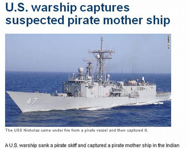 Amerykański okręt USS Nicholas odpowiedział ogniem na atak pirackiej jednostki na Ocenia Indyjskim