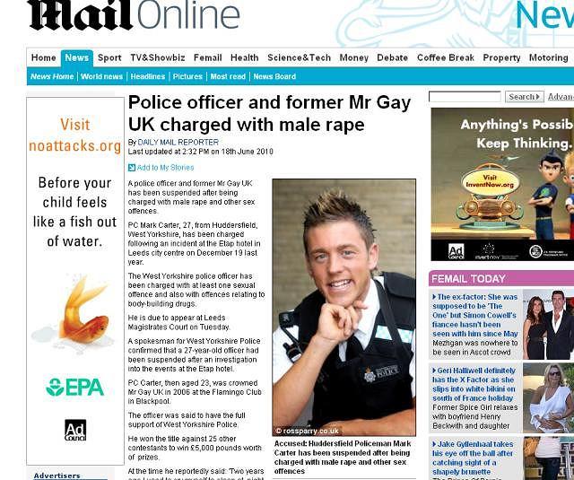 Marc Carter na zdjęciu w brytyjskim dzienniku