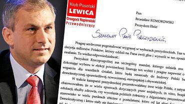 Grzegorz Napieralski napisał do Bronisława Komorowskiego