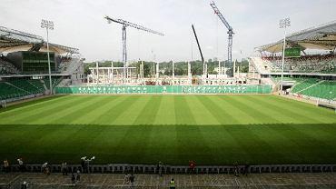 Tak budowa trybuny wyglądała w lipcu 2010