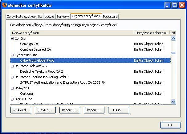 cybertrust certyfikat