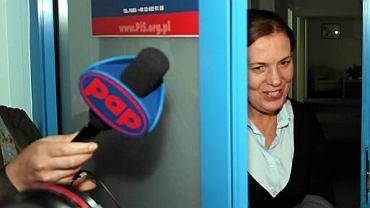 Elżbieta Jakubiak tuż po rozmowie z prezesem PiS Jarosławem Kaczyńskim