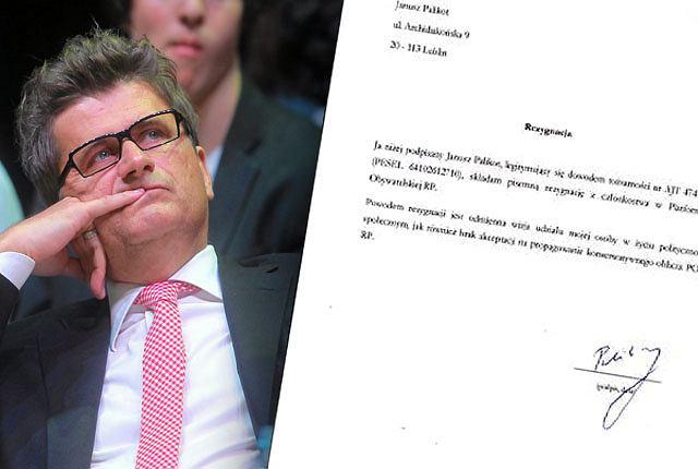 Na swoim blogu Janusz Palikot opublikował dokument rezygnacji z członkostwa w PO