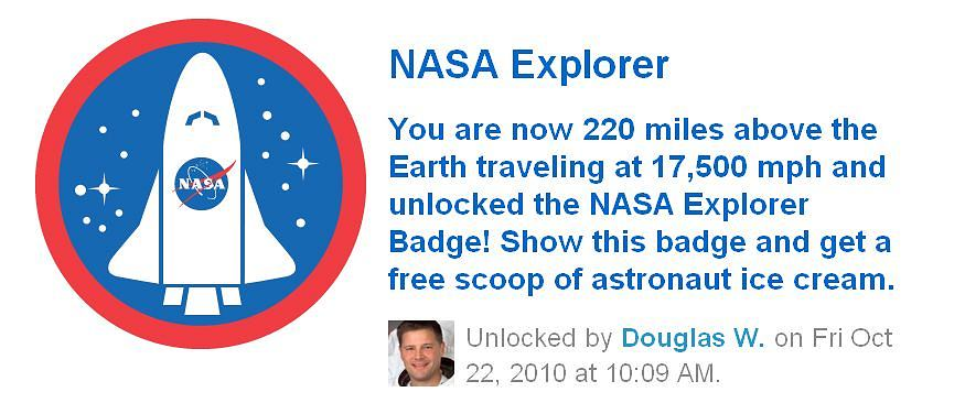 Foursquare - odznaka NASA Explorer