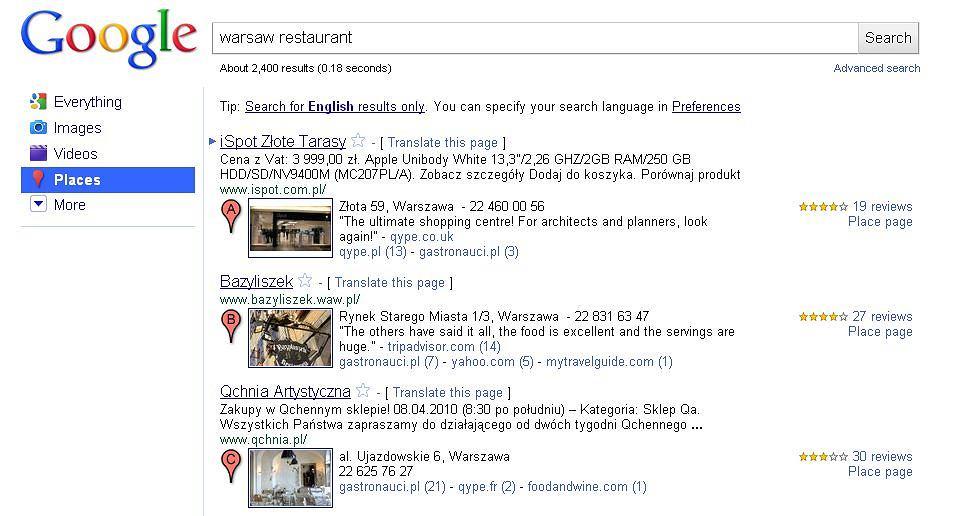 Google Places - wyszukiwanie miejsc i lokali