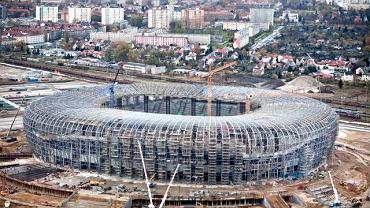 Budowa PGE Areny Gdańsk z lotu ptaka