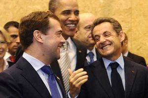 Miediwiediew, Obama, Sarkozy na szczycie NATO w Lizbonie