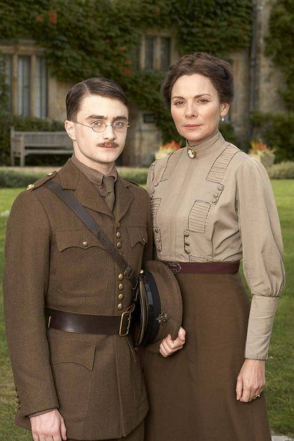 """In this image released by PBS, actors Daniel Radcliff, left, and Kim Cattrall are shown in a scene from """"My Boy Jack""""  airing Sunday, April 20, 2008 at 9pm ET on PBS.  Radcliffe stars as John """"Jack"""" Kipling, a young man obsessed with serving his country and escaping from the shadow of his famous father, based on the true story of Rudyard Kipling s only son. Cattrall portrays Carrie Kipling.   (AP Photo/PBS, Patrick Redmond) ** NO SALES, MANDATORY CREDIT: PBS/Patrick Redmond **"""