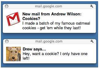 Powiadomienia na pupicie o nowych wiadomościach Gmail.