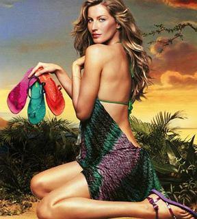 Zdjęcie reklamujące 'Hot Sand Collection' Gisele Bundchen na wiosnę i lato 2011