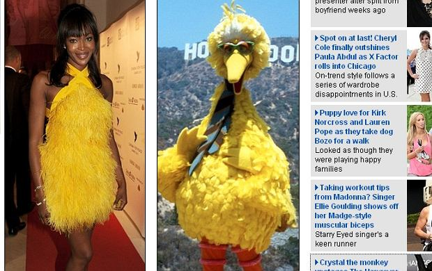 Naomi Campbell i Wielki żółty ptak.
