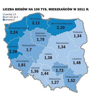 Liczba biegów Polska Biega na 100 tys. mieszkańców w podziale na województwa.