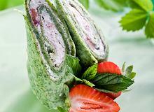 Naleśniki szpinakowe z musem waniliowo-truskawkowym - ugotuj
