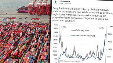 """Inflacja już do nas płynie? """"Brakuje wolnych statków oraz kontenerów"""". Ceny frachtu biją rekordy"""