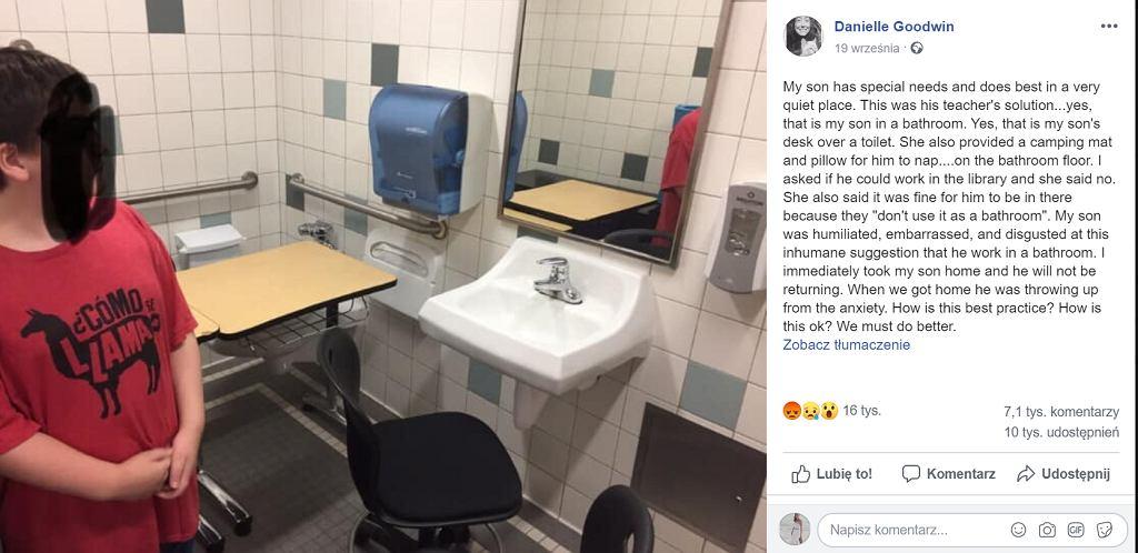 Chłopiec z autyzmem został umieszczony w szkolnej toalecie. Tam miał się uczyć