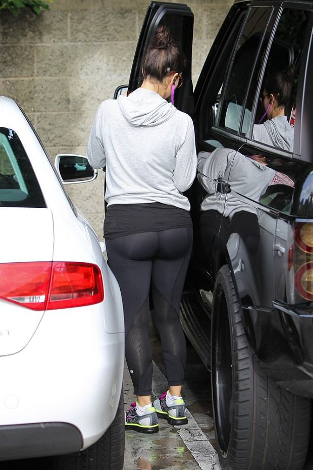 Kim Kardashian leaving the gym.  Pictured: Kim Kardashian
