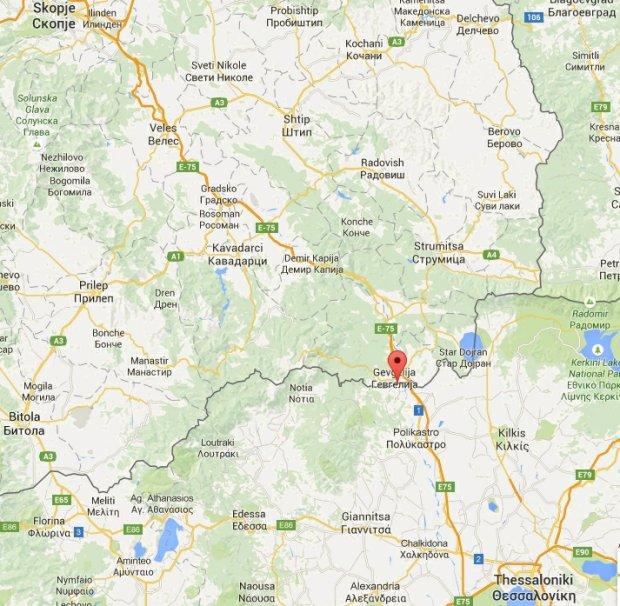 Lokalizacja wioski Idomeni przy granicy grecko-macedońskiej
