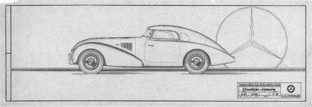 Jeden z oryginalnych rysunków Mercedesa 540 K Streamlinera z 1938 r.