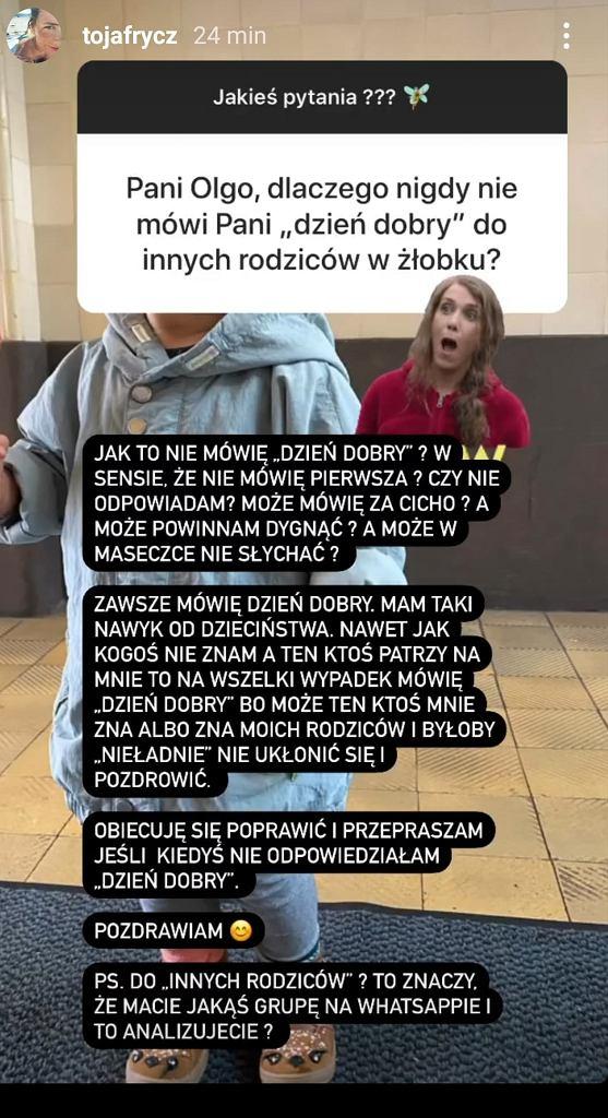 Olga Frycz odpowiedziała na pytanie fanki