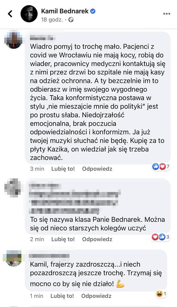 Internauci komentują wpis Kamila Bednarka