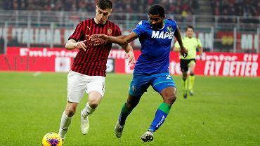 Krzysztof Piątek w barwach AC Milan przeciw Sassuolo