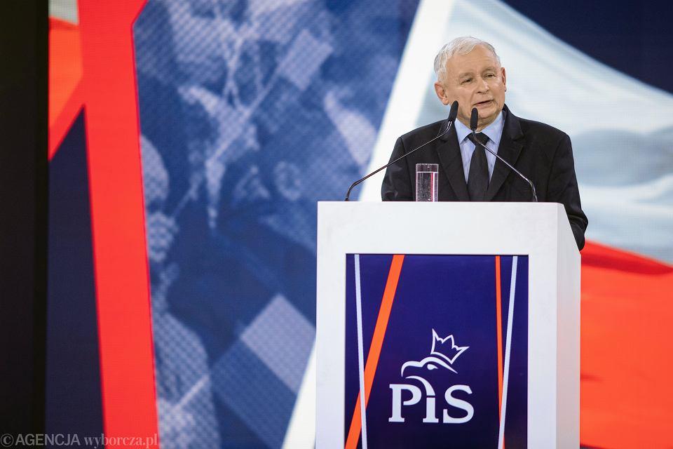 23.02.2019, Warszawa, Jarosław Kaczyński podczas konwencji PiS 'Nowa Arena Programowa'.