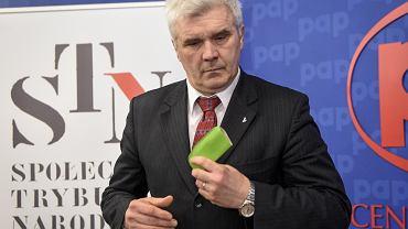 Tomasz Panfil podczas  posiedzenia Społecznego Komitetu Trybunału Narodowego, Warszawa, 9 lutego 2017 r.